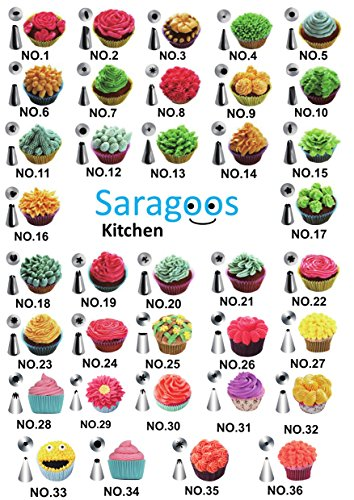 Premium Cake Decorating Supplies 50 pcs. in One Set, 42 Numbered Stainless Steel Tips, 2 Silicone Pastry Bags, 2 Couplers, 20 Disposable Piping Bags, Storage Case - BONUS Cake Decorating Pen by Saragoos (Image #5)