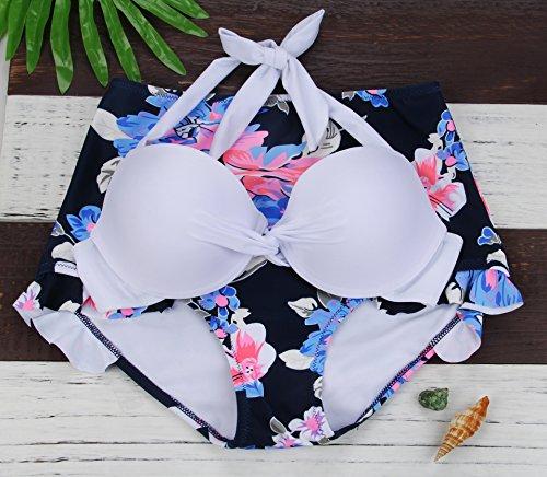 Aixy Mujer Vintage Bañadores Blanco y Negro Rayado Traje de Baño Twist Top Stringy Selvedge Bottom Bikini Set Blanco