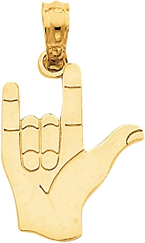 14k I Love You Hand and Sign Language Pendant