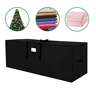 JJCKHE Patio Cushion Storage Bag, Outdoor Protective Zippered Patio Furniture Cover, 600D Heavy Duty Waterproof Cover Storage Bag with PVC Window,Black: Kitchen & Dining