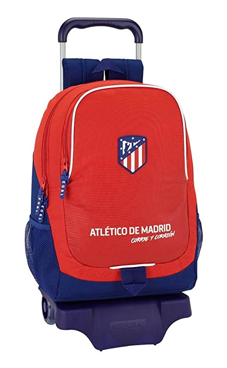 """Safta Mochila Atlético De Madrid """"Coraje"""" Oficial Escolar Con Carro Safta 330x150x430mm"""