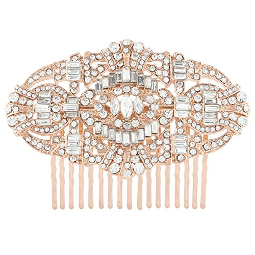 EVER FAITH Womens Austrian Crystal Bridal Art Deco Hair Side Comb Clear Rose Gold-Tone
