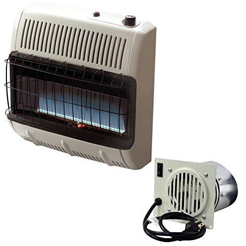 Mr. Heater Vent Free Flame 30k BTU Propane Heater (Blue) + Mr. Heater Corporation Vent Free Blower Fan Kit