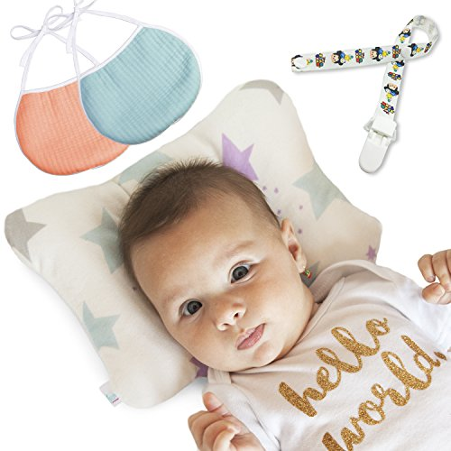 Baby Pillow | Head Shaping Newborn Pillow | Breathable Flat Head Baby Pillow to Prevent Flat Head Syndrome + Infant Gift Set 2 Baby Bibs and 1 Pacifier Clip + Bonus Ebook by Edelfeel