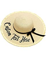 Personalized Custom Embroidery Name Text Logo Women Sun Hat Bow Tassels Large Brim Straw Hat Outdoor Beach hat Summer Cap
