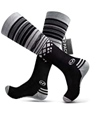 OutdoorMaster Adult Ski Socks (2-Pack) - Merino Wool Breathable Blend, Warm and Comfortable Over The Calf (OTC) Design with Non-Slip Cuff - for Men & Women