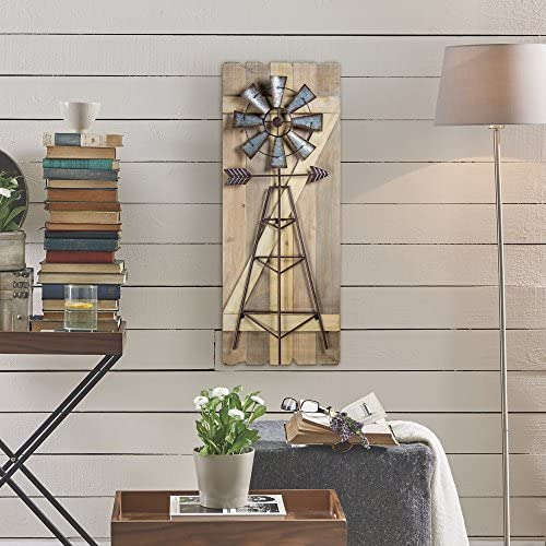 American Art D cor Windmill Arrow Wood Metal Hanging Wall Art Rustic Farmhouse Decor
