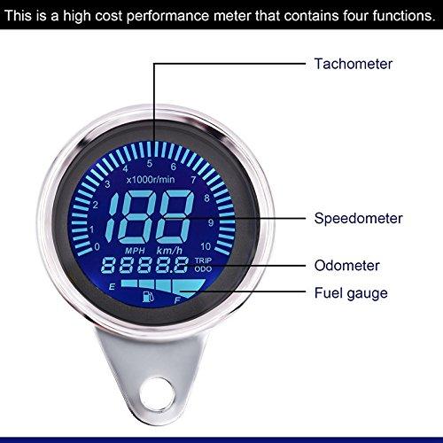 TOOGOO Compteur de Vitesse de Moto Compteur dhuile de Compteur kilometrique LCD