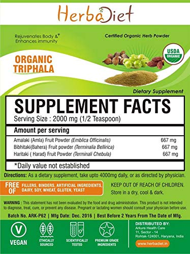 Organic Triphala Powder Churna 100% Pure Natural Premium Quality Aids Digestion (5 Gram) by Herbadiet (Image #1)
