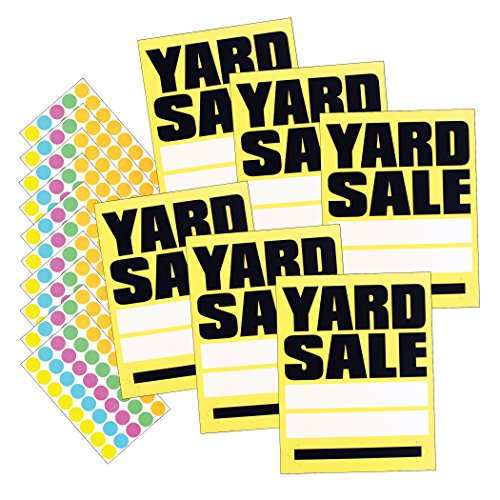 HeadLine Sign - Large YARD SALE Signs with 400 Sticker Sale Tags, Yellow/Black, 11 x 14 Inches, 6-Pack of Signs (5505) by Headline Sign