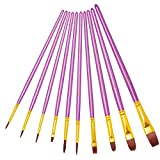 Office Products : Purple Paint Brushes, heartybay paint brush Set Round Pointed Tip Nylon Hair Artist Acrylic Brush Watercolor Oil Painting (10pcs)