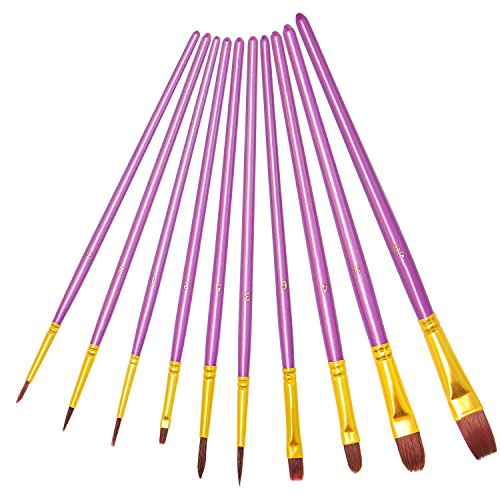: Purple Paint Brushes, heartybay paint brush Set Round Pointed Tip Nylon Hair Artist Acrylic Brush Watercolor Oil Painting (10pcs)
