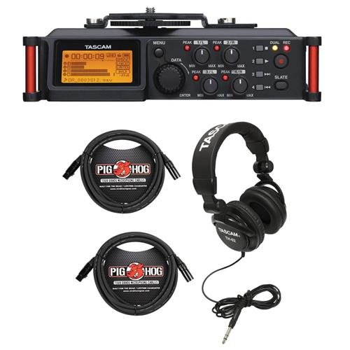 (Tascam DR-70D 4-Channel Audio Recorder for DSLR Cameras, Bundle TH-02 Multi-Use Studio Grade Headphones Black, 5ft Stereo Mini, Stereo Mini Male 3.5mm TRS Cable)