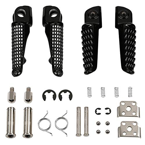 TCMT Front Rear Footrest Foot Pegs Fits For Kawasaki ZX6R 2003-2011 Kawasaki Z750 Z1000 2007-2012 ZX14 2006-2013 ZZR1200 2000-2006 ZX-10R 2004-2012 ZX-9R 1998-2003 (Black) ()