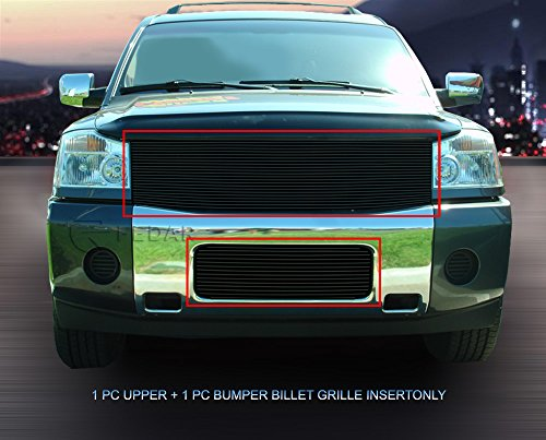Fedar 2004-2007 Nissan Armada/Titan Replacement Style Combo Billet Grille Grill 2-pcs Set-Black #320253062 -