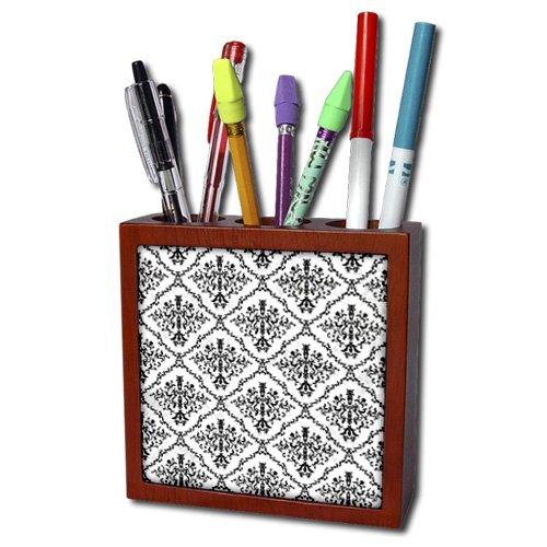 Anne Marie Baugh - Pattern - Black and White Diamond Damask Pattern - 5 inch tile pen holder (ph_210943_1)