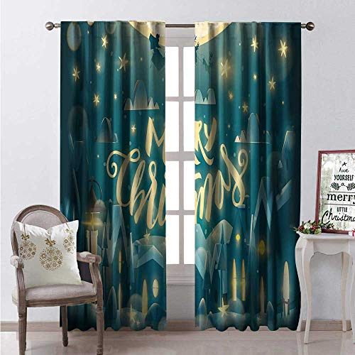 - Hengshu Merry Christmas Room Darkening Wide Curtains Sweet Snow Blanketed Houses Santa and Deer Silhouette in Sky Decor Curtains by W96 x L84 Dark Teal Pale Yellow
