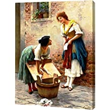 """Sharing the News by Eugene De Blaas - 15"""" x 19"""" Gallery Wrapped Giclee Canvas Art Print - Ready to Hang"""