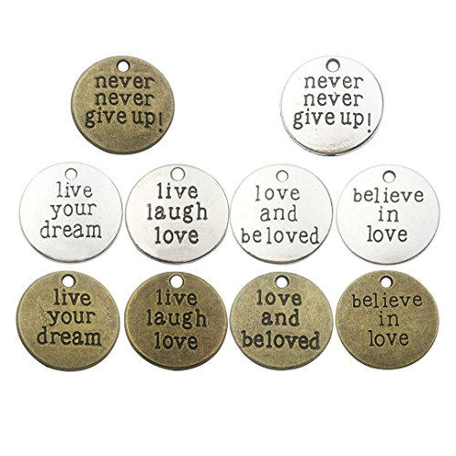 (Youdiyla 40 PCS Inspiration Word Charms Collection - Round Never Give Up Live You Dream Laugh Love Beloved Believe Alloy Metal Pendants (HM70))
