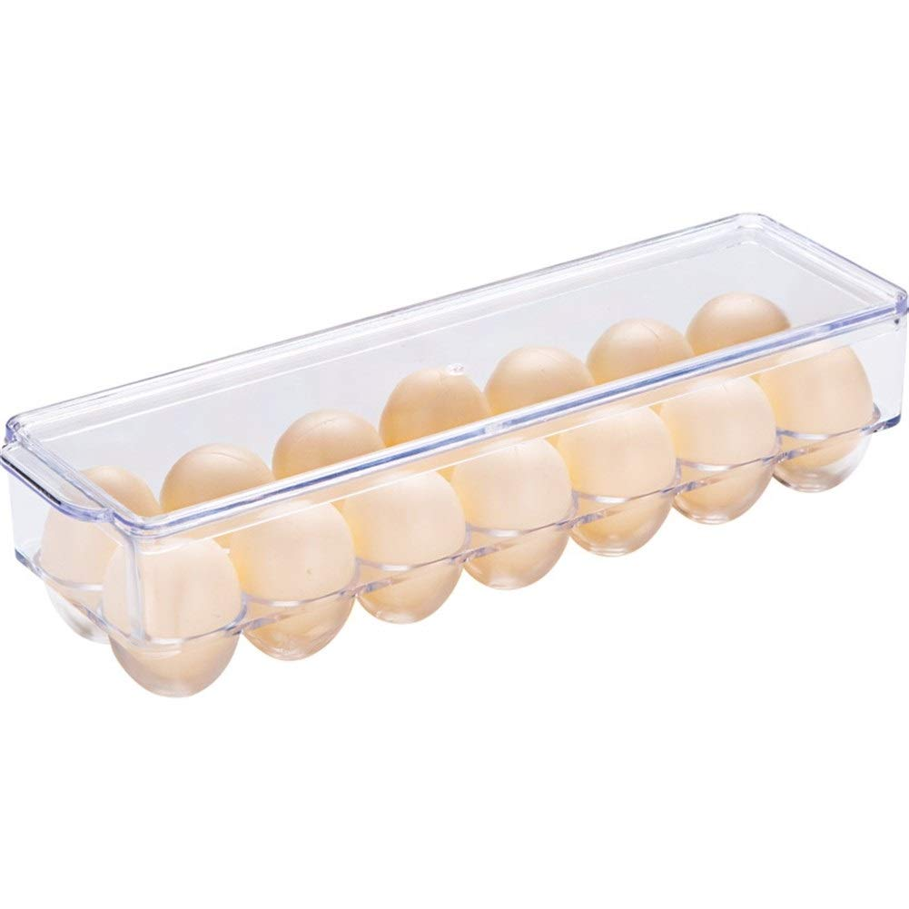 Refrigerator side door storage box Household Egg box Egg grid Strong and durable Cover can be superimposed 83210cm (Size : 83210cm)