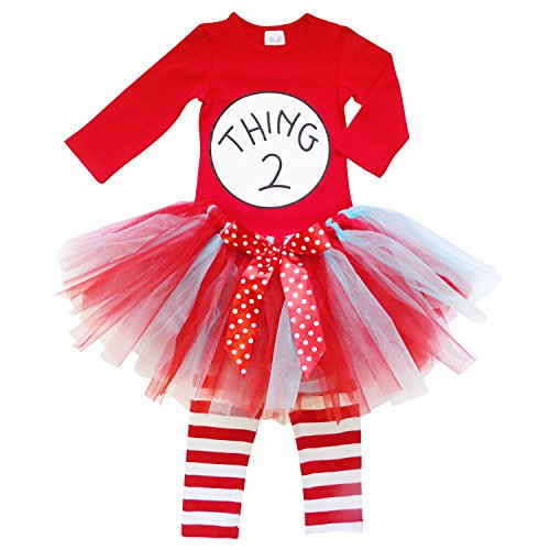 So Sydney Toddler Girl Thing 1, 2 Tutu 3 Pc Outfit Costume, Top Pants Tutu Skirt (XL (6/7), Thing (Thing 1 And 2 Costumes)