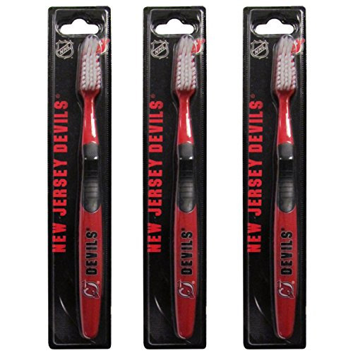 Siskiyou NHL New Jersey Devils Adult Toothbrush, Blue, 3 Pack