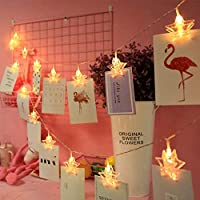 MengK 8.2ft Battery Powered Fairy Twinkle Decorative 20 LED Photo Clips Star String Lights