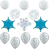 Shimmering Frozen Snowflake Party Balloon Decorations Kit