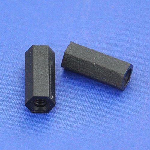 Electronics-Salon 1000pcs 10mm/0.39'' Black Nylon M2 Threaded Hex Female-Female Standoff Spacer. by Electronics-Salon (Image #2)
