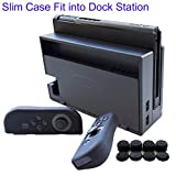 Hikfly 3in1 Ultra Slim Docked PC Cover Case for Nintendo Switch(Transparent Black) & Silicone Covers (Black) for Joy-Con Controllers with 8pcs Thumb Grips Super Thin Fit into Dock