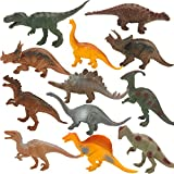KISSKIDS 7'' Dinosaur Figures Toy Sets, Realistic Looking, Large Plastic Assorted Dinosaurs with Book for Kids, Pack of 12