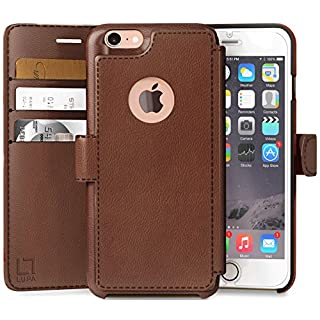 LUPA iPhone 6S Wallet case, iPhone 6 Wallet Case, Durable and Slim, Lightweight with Classic Design & Ultra-Strong Magnetic Closure, Faux Leather, Light Brown, for Apple iPhone 6s/6