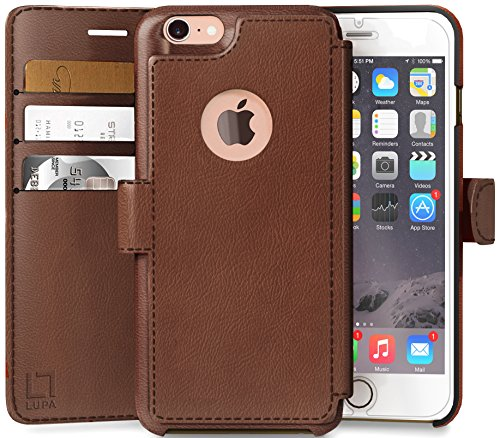 LUPA Wallet case for iPhone 8, Durable and Slim, Lightweight, Magnetic Closure, Faux Leather, Light Brown (Iphone Book Case Cover)