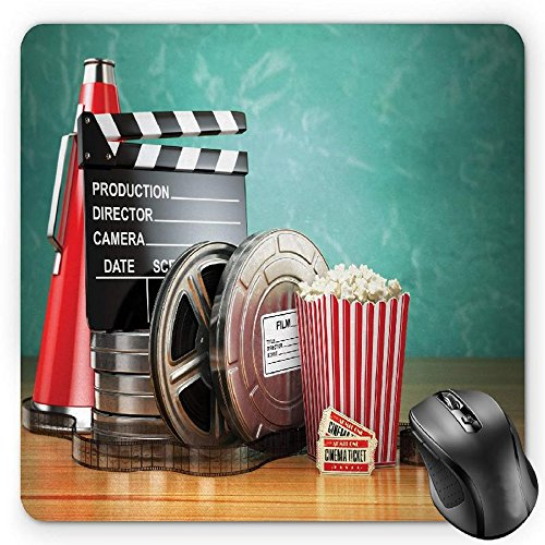 (BGLKCS Movie Theater Mouse Pad by, Production Theme 3D Film Reels Clapperboard Tickets Popcorn and Megaphone, Standard Size Rectangle Non-Slip Rubber Mousepad, Multicolor)