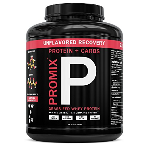 PROMIX Post Workout Recovery Whey Protein and Carbs, Unflavored, 5lbs | 25g Protein, 50g Carbs, 5.9g BCAA, 29 Servings | Grass Fed, Non GMO, Hydrolyzed, Best for Optimized Fitness