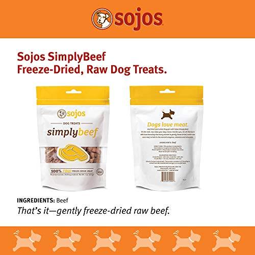 Sojos Simply Raw Freeze Dried Grain Free Dog Treats, Beef, 4-Ounce Bag