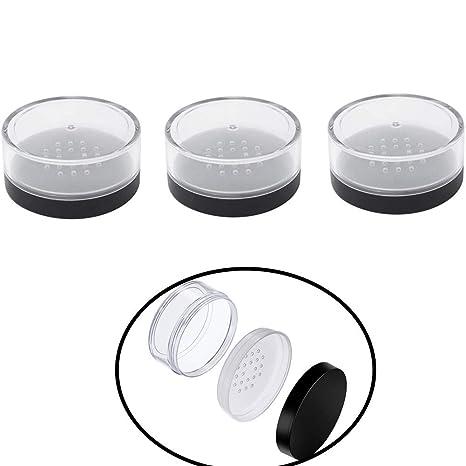 Chytaii 3pcs Polvo Recipiente Caja Contenedor Botes Vacía Transparente para Cosmética Polvo con Tapas de Tamiz