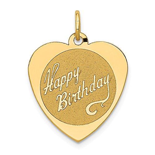 14k Yellow Gold Engravable Happy Birthday Heart Disc Pendant