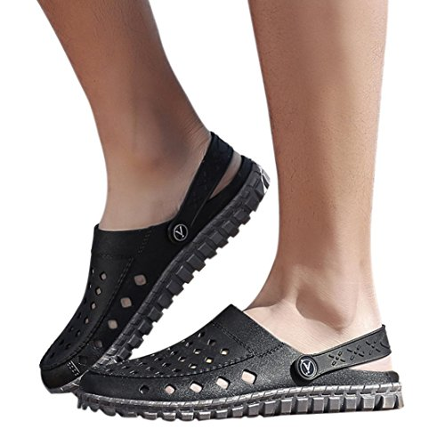 vermers Clearance Deals Wading Shoes Outdoor Hole Shoes Men Beach Sandal Casual Walk Beach Shoes Slipper(US:8.5, Black)