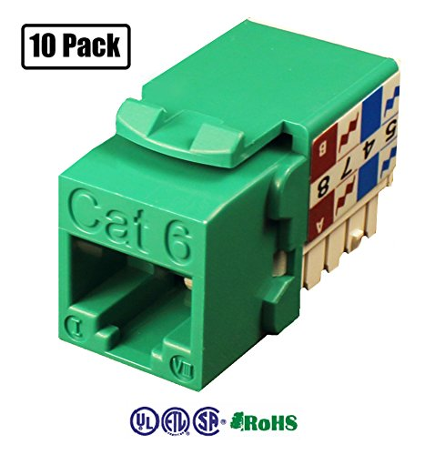 Infinity Cable CAT6 RJ45 Keystone Jack 90 Degree, Green (10 Pack) (568b Green Channel)