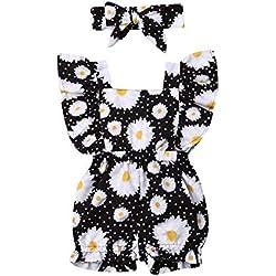 Newborn Baby Girl Floral Bodysuit+Headnband 2pcs Summer Flare Sleeve Fashion Jumpsuit 0-24Months (6-12 Months, Black-Sunflower)