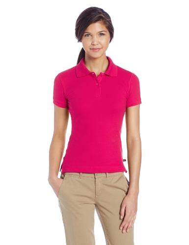 Lee Uniforms Juniors Short Sleeve Stretch Pique Polo Shirt, Hot Pink, -