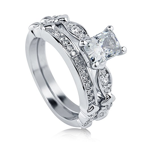 BERRICLE Sterling Silver 1.47 ct.tw Radiant Cubic Zirconia CZ Solitaire Engagement Wedding Ring Set