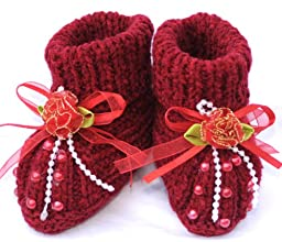 Knitted Baby Booties, Size: 0-6 M, Color: Burgundy