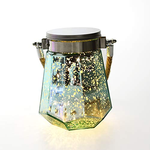 LED Battery Operated Mason Jar Lantern Light Outdoor Glass Fairy Hanging Jars (with Hanger) Waterproof Starry Decorative Decor String Lights for Thanksgiving Xmas Home Garden Table Party Decoration -
