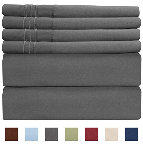 California King Deep Fitted Sheet - CGK Unlimited Extra DEEP Pocket Sheets - Super DEEP Pocket Bed Sheet Set - Deep Fitted Flat Sheet - California King Size Dark Grey - Cal King