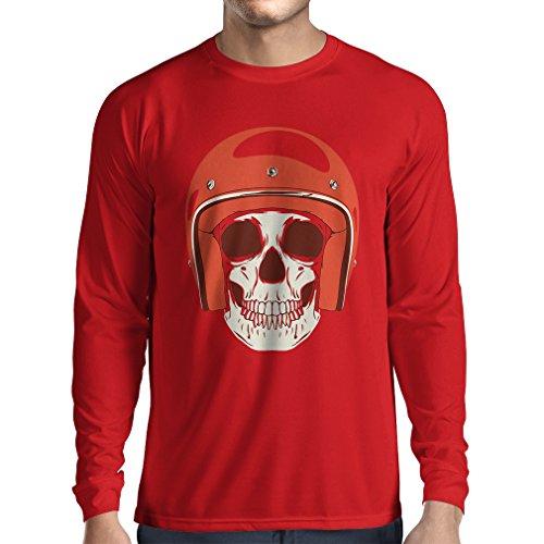 Long Sleeve t Shirt Men Moto Skull with Cap Helmet- Motorcycle Clothing, Motorbike Apparel, Riding Gear (Medium Red Multi Color)