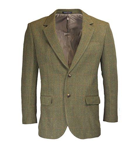 Walker & Hawkes - Mens Classic Windsor Tweed Country Blazer Jacket - Dark Sage - - Horse Jacket Blazer