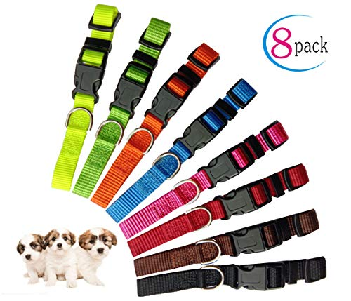 Partner Puppy ID Collars Identification Whelping Super Soft Nylon Adjustable Breakaway New Born Pets with Record Keeping Charts ()