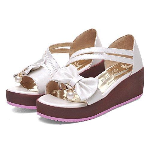 Pull Women's Sandals White AgooLar Heels On Toe Solid Pu Kitten Open pRxxAnag